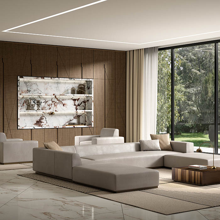 laurameroni day systems in wood, metal, fabric, marble to furnish modern livingrooms with custom made wardrobes