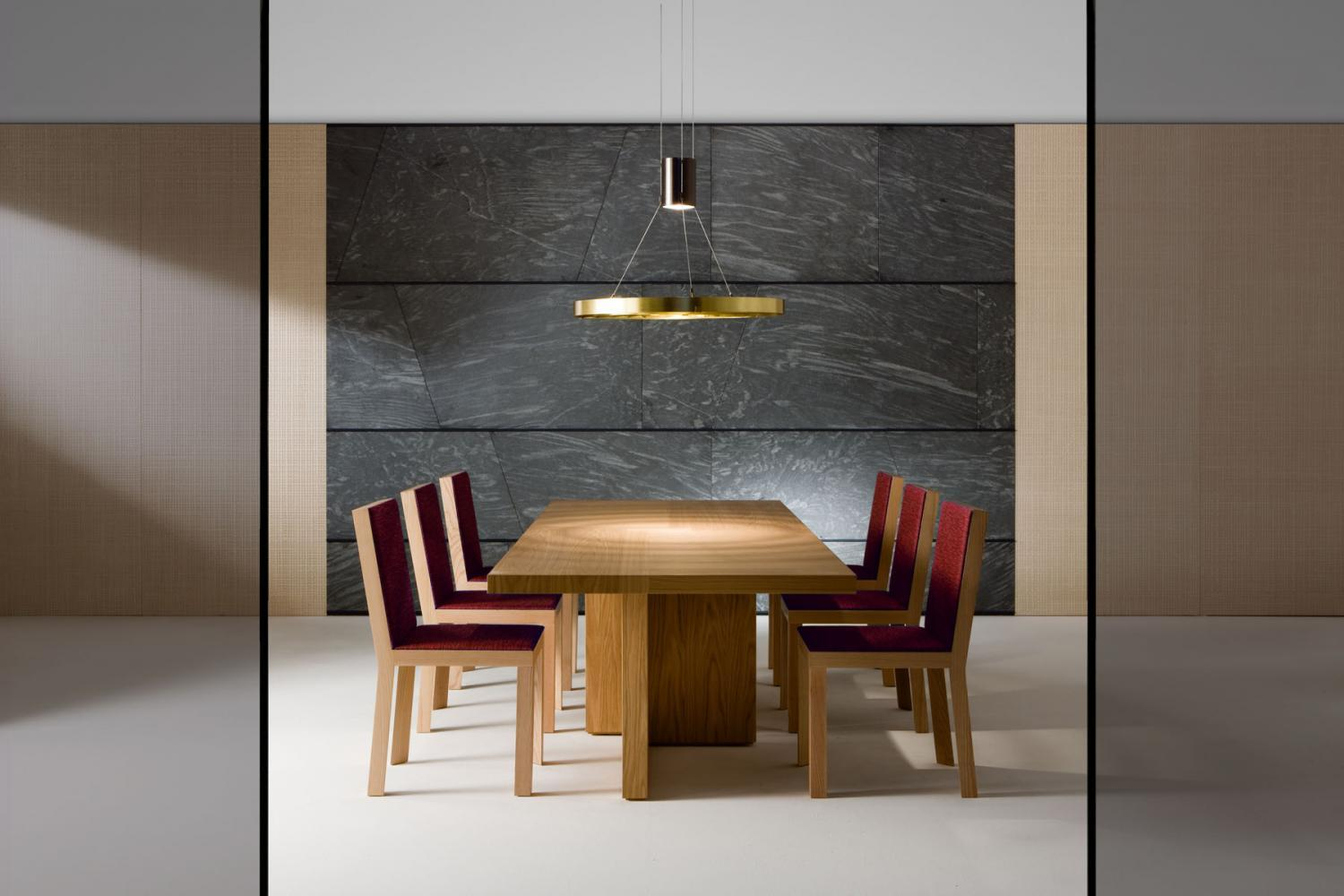Dark Light MA 10 is an hanging lamp in satin brass