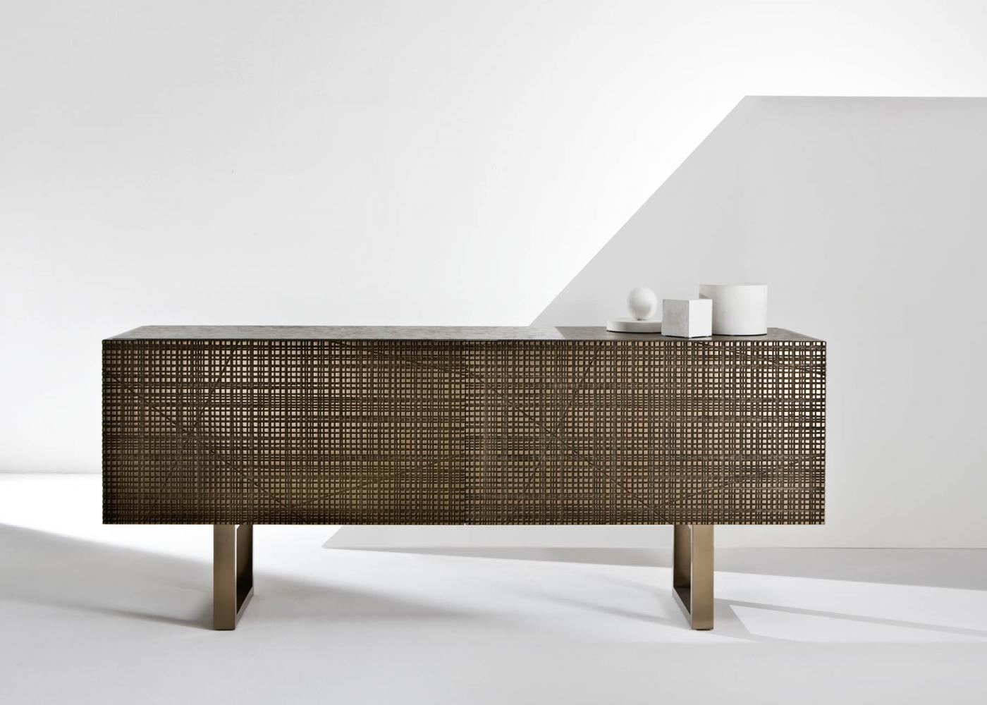 BD 91 is a Low sideboard with Maxima surface in bronze liquid metal finish