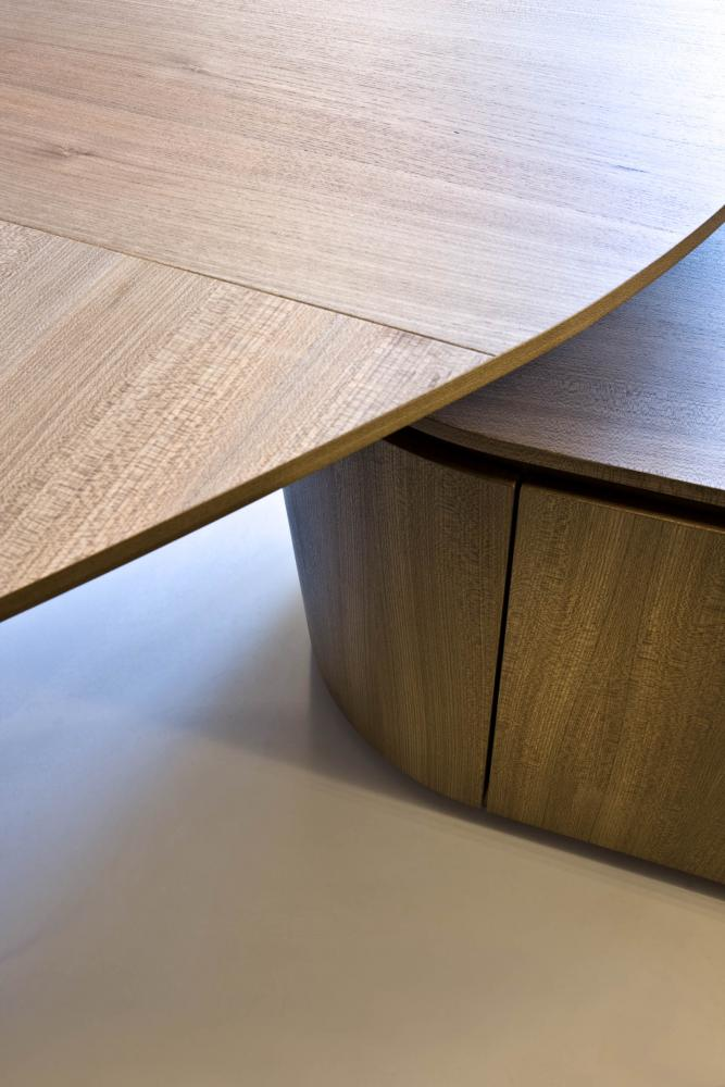 laurameroni detail of luxury custom round ceo desk office in elm wood