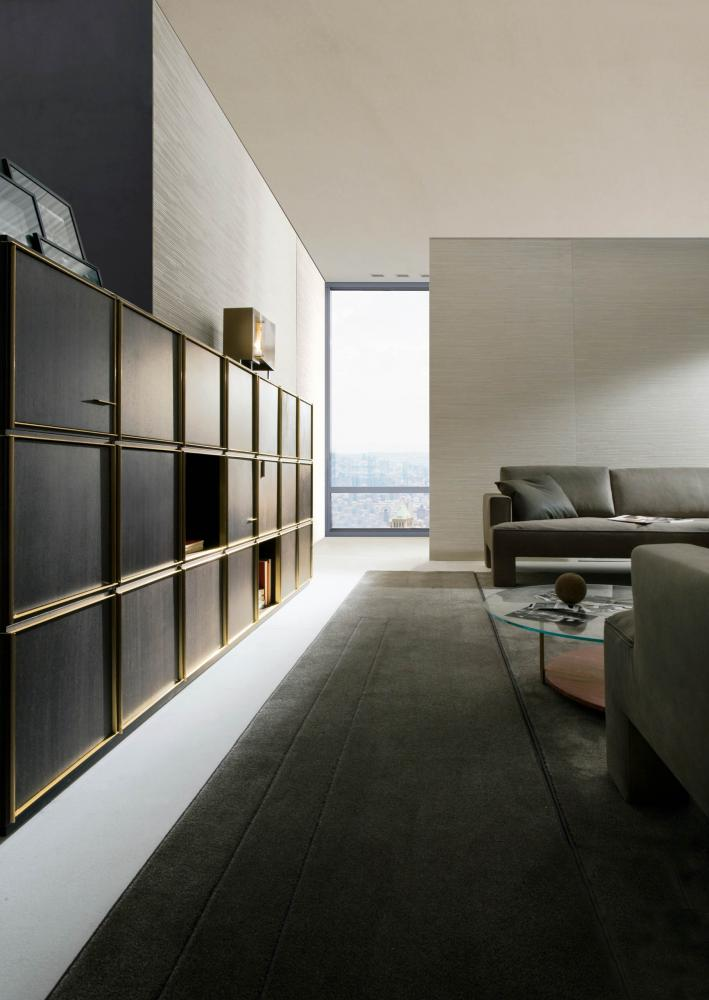 laurameroni 40/40 day system in wood for luxury livingroom interior design