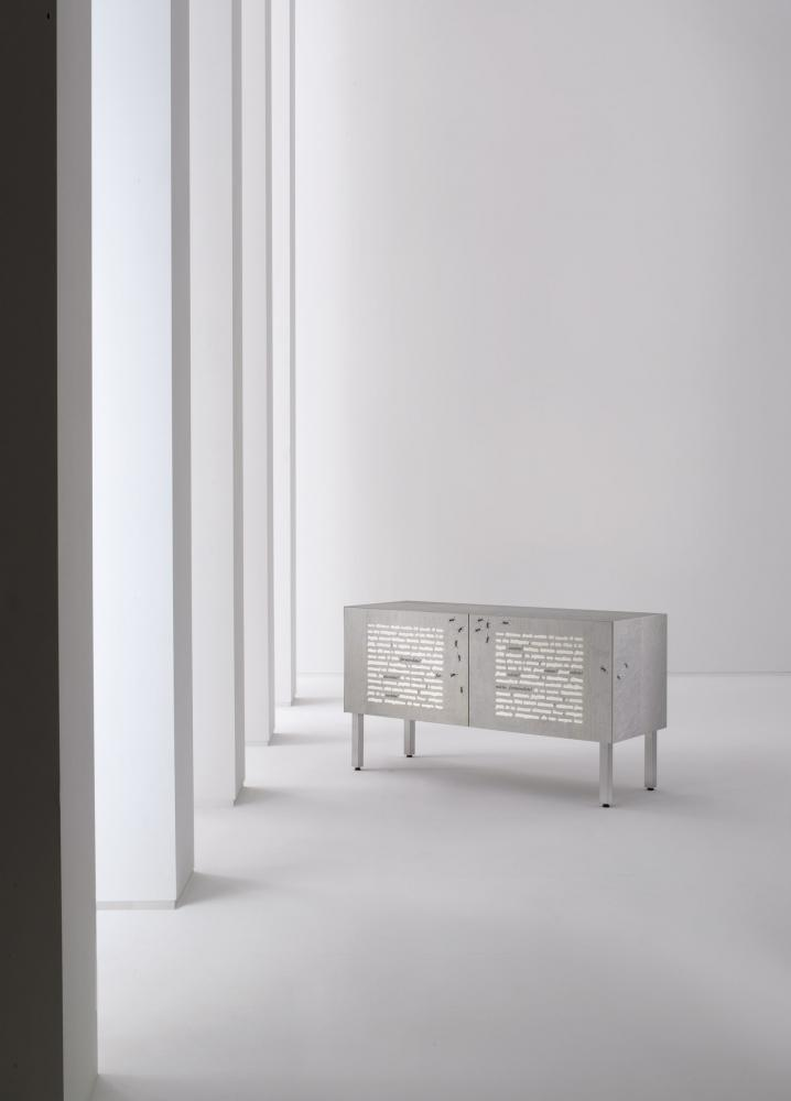 Contemporary inlaid sideboard by Emilio Isgrò
