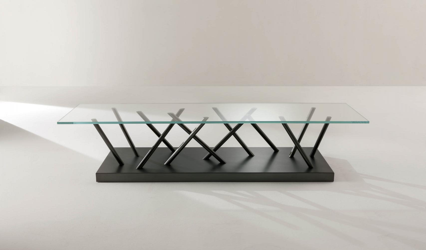 crystal low table by sottsass associati in glass and metal for a contemporary interior decor