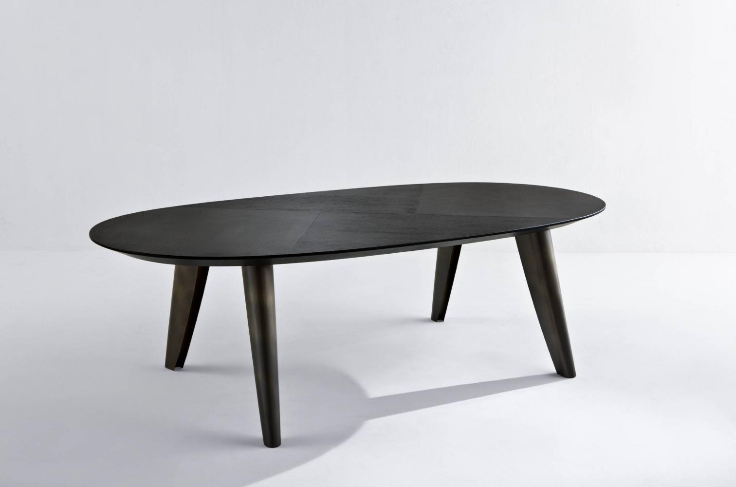 Black wood table for luxury materials interior design decor