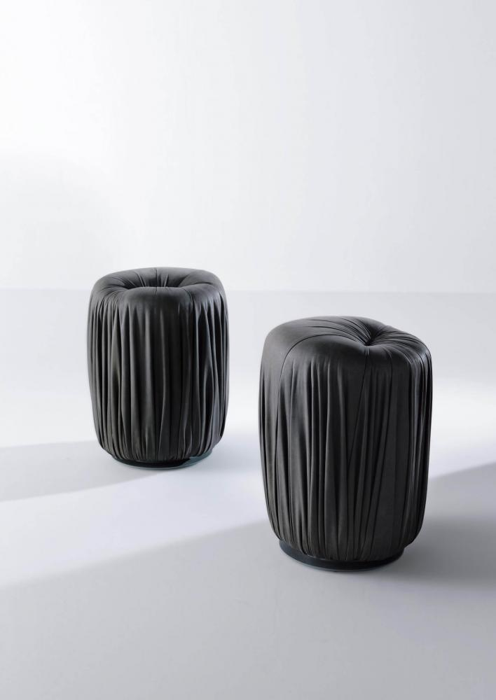 Black leather, fabric or velvet poufs for luxury materials interior design decor
