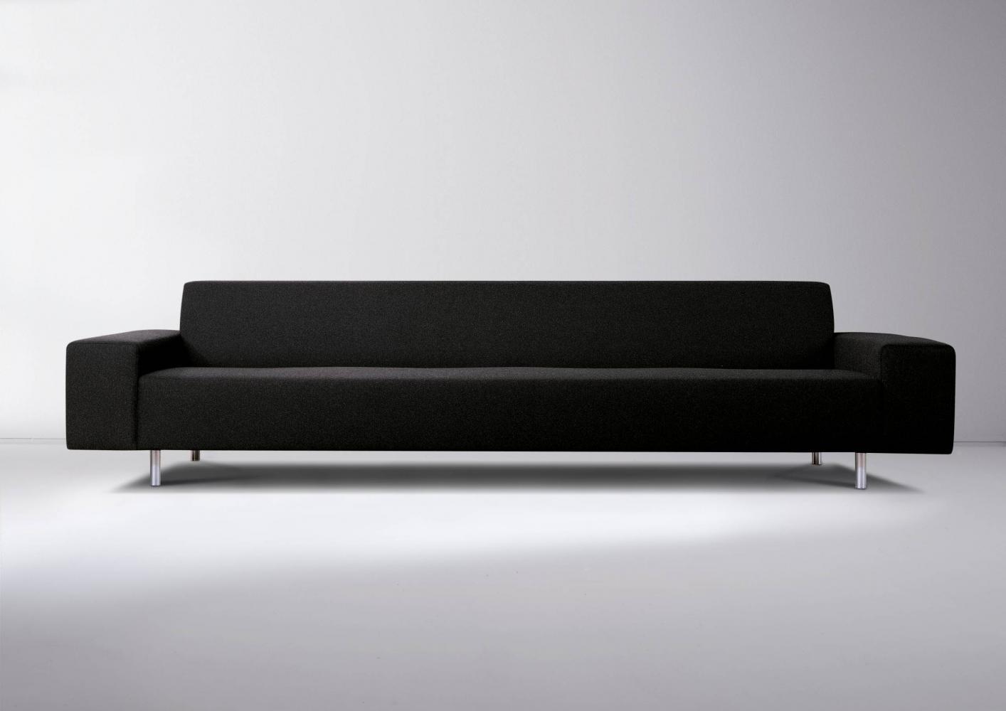 Black leather, fabric or velvet sofa for luxury materials interior design decor