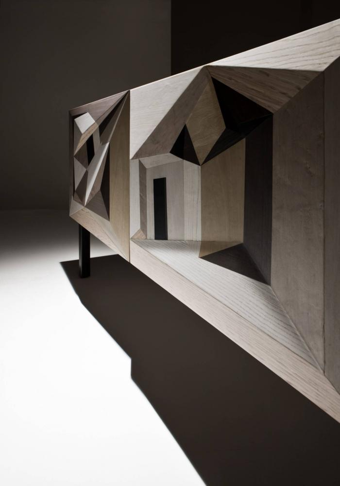 Contemporary inlaid sideboard by Marcello Jori