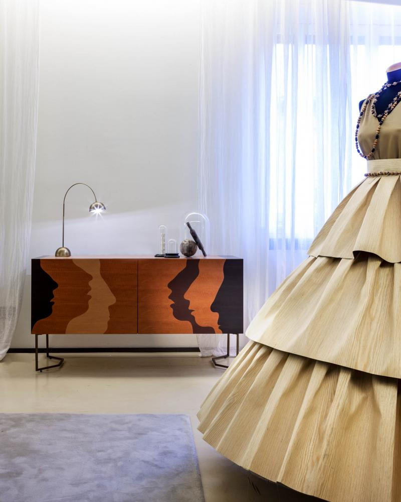 Wooden dress gown and contemporary art sideboard