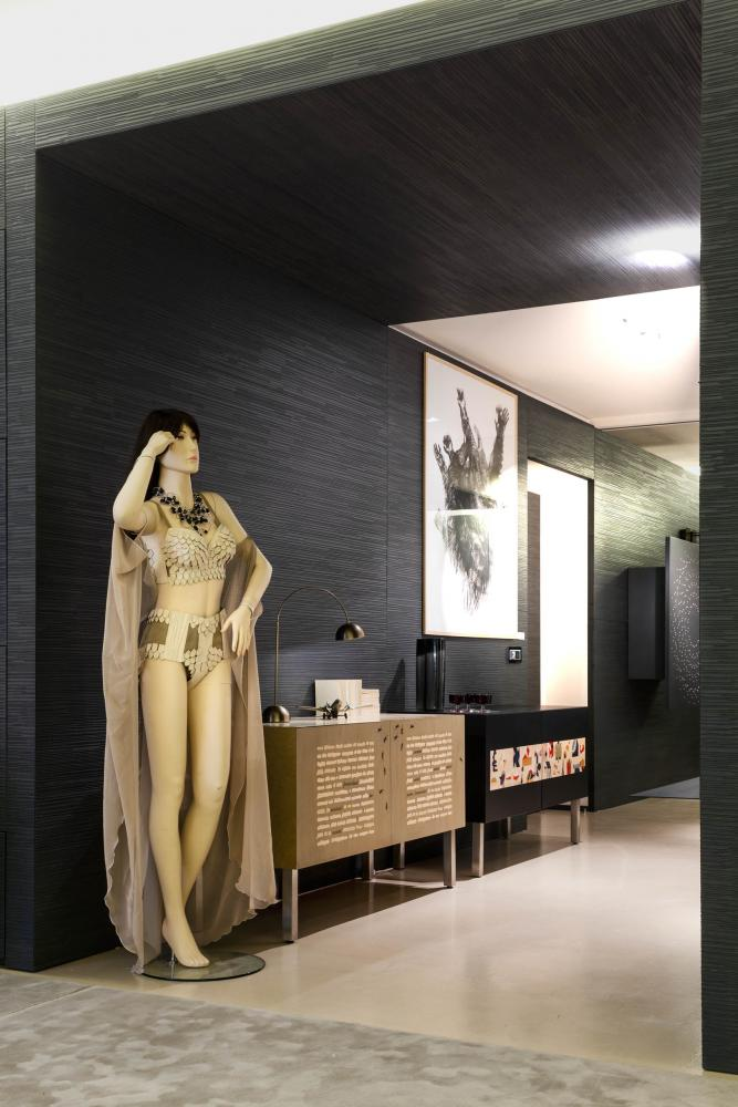Wooden dress and coat with contemporary sideboard art