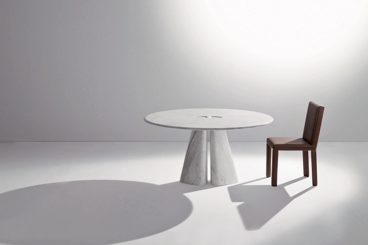 laurameroni luxury rounded table in wood for modern interior design and decor