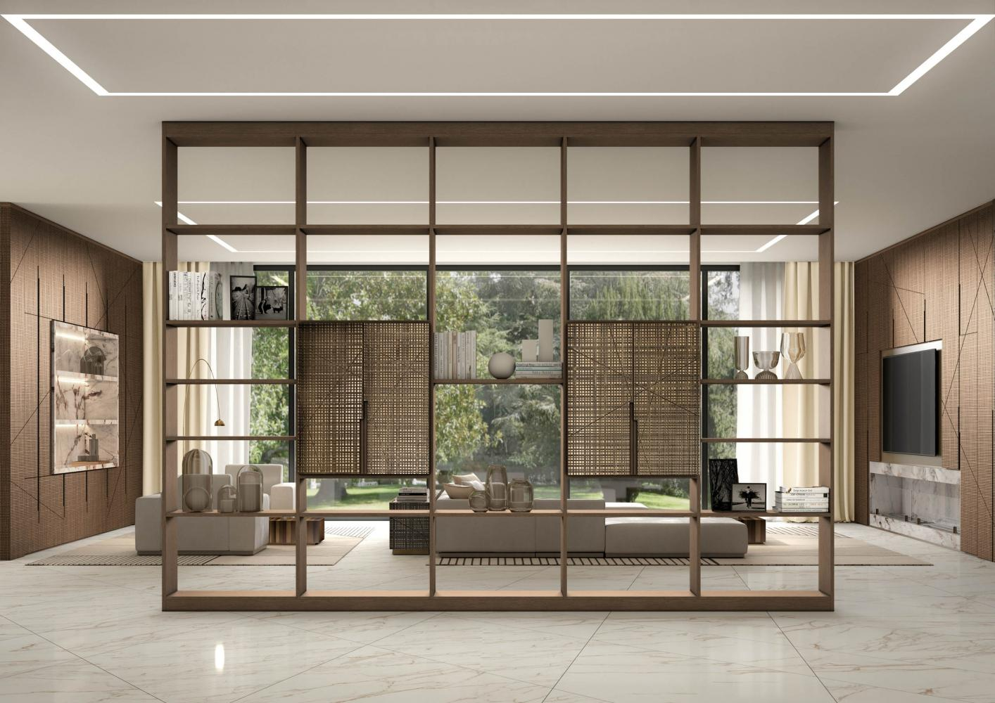 laurameroni maxima day system in wood for luxury livingroom interior design