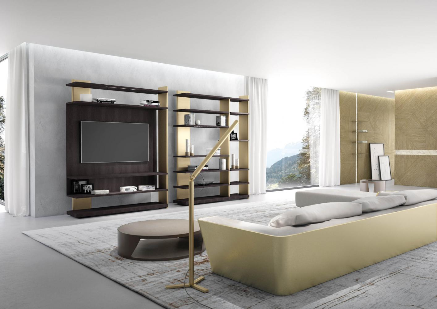 laurameroni outfit day system in wood for luxury livingroom interior design