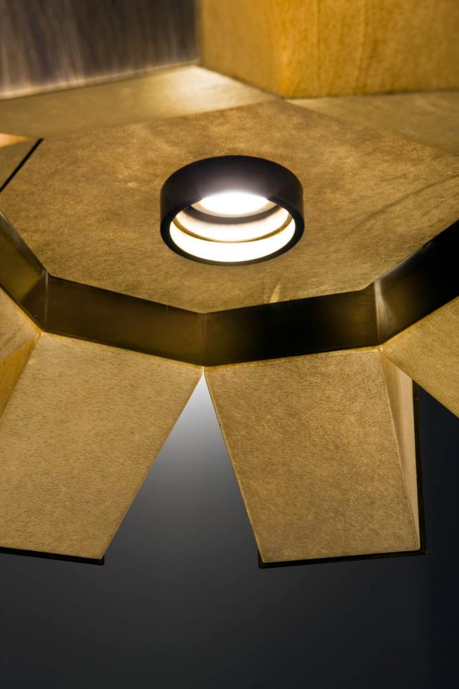 Suspended luxury led lamp in parchment and burnished brass