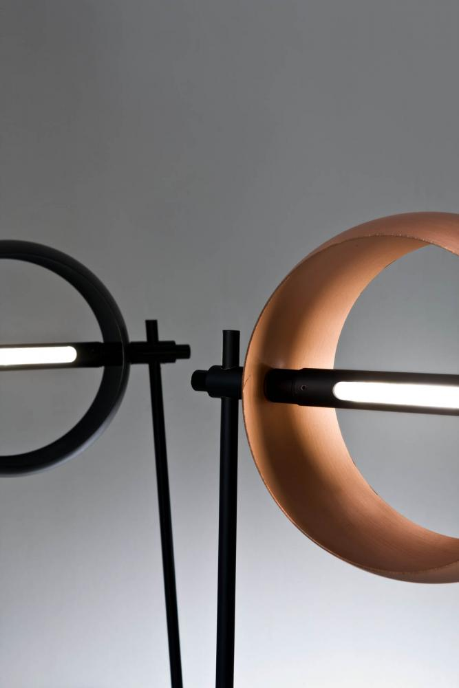 Round modern led table lamp in copper or burnished black iron