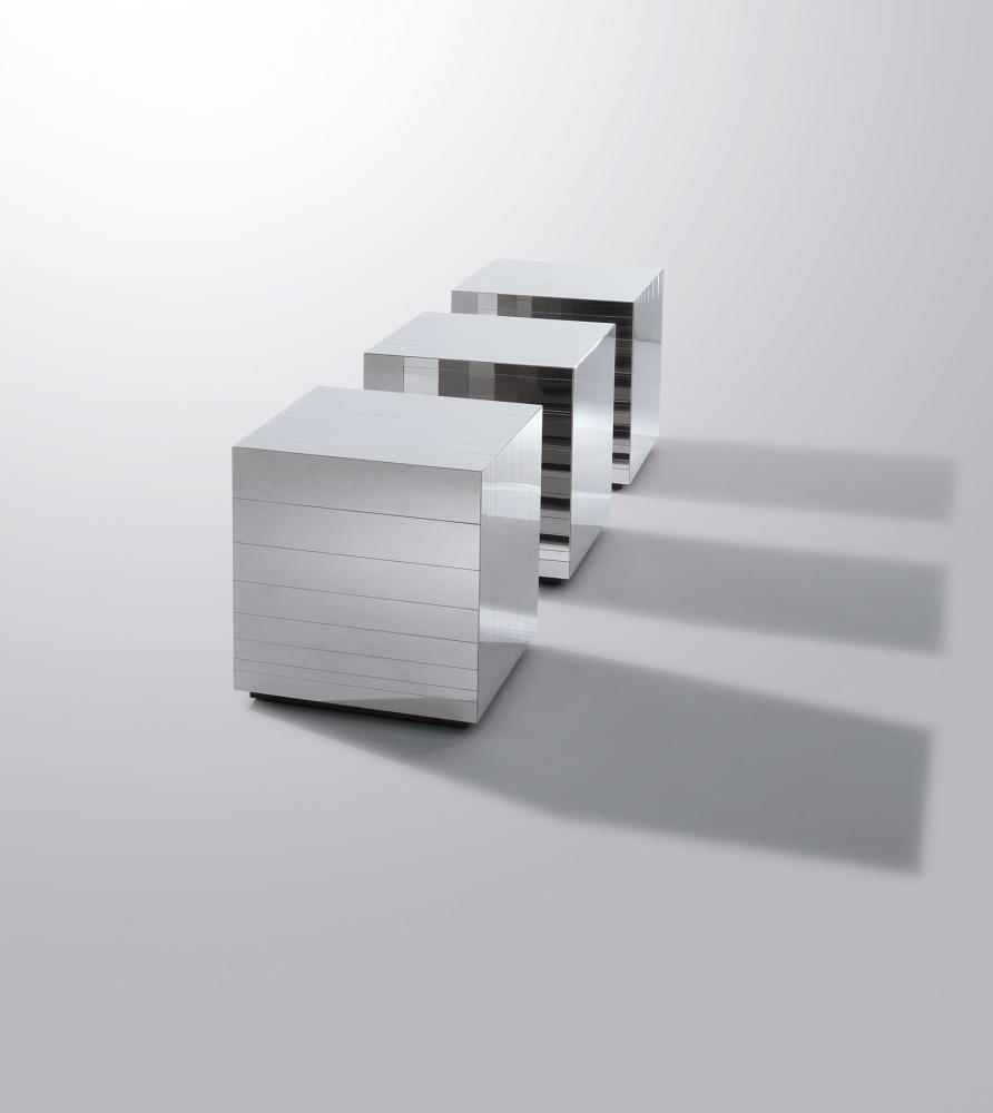 Bespoke modern low tables cladded in stainless steel