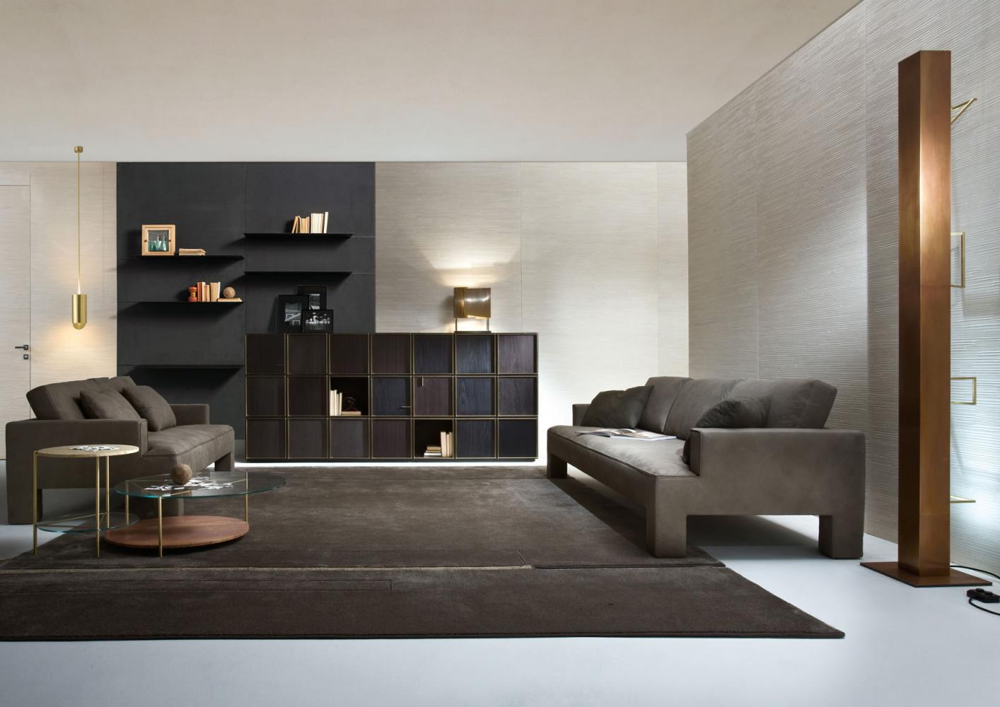 Modern living with two and three seater luxury sofa in leather