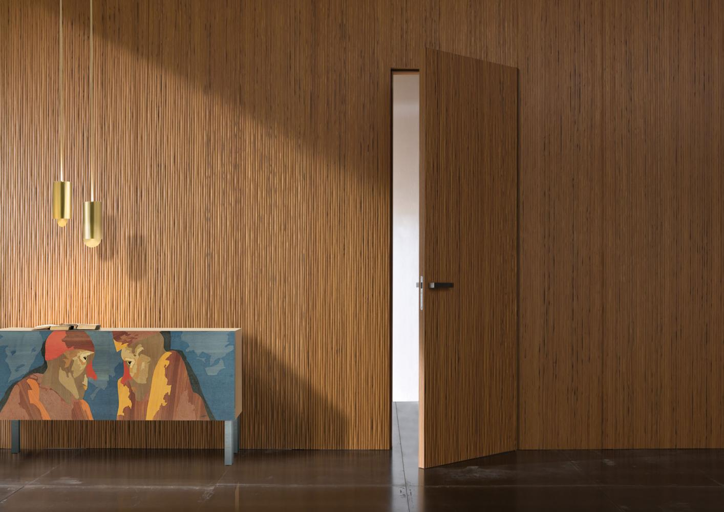 Modern limited edition sideboard in wood with inlays designed by Emilio Tadini for luxury home.