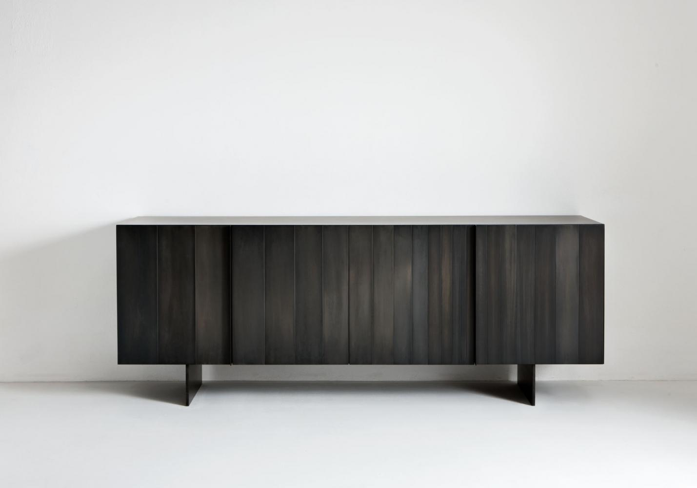 ST 12 Luxury custom size low sideboard clad in black iron