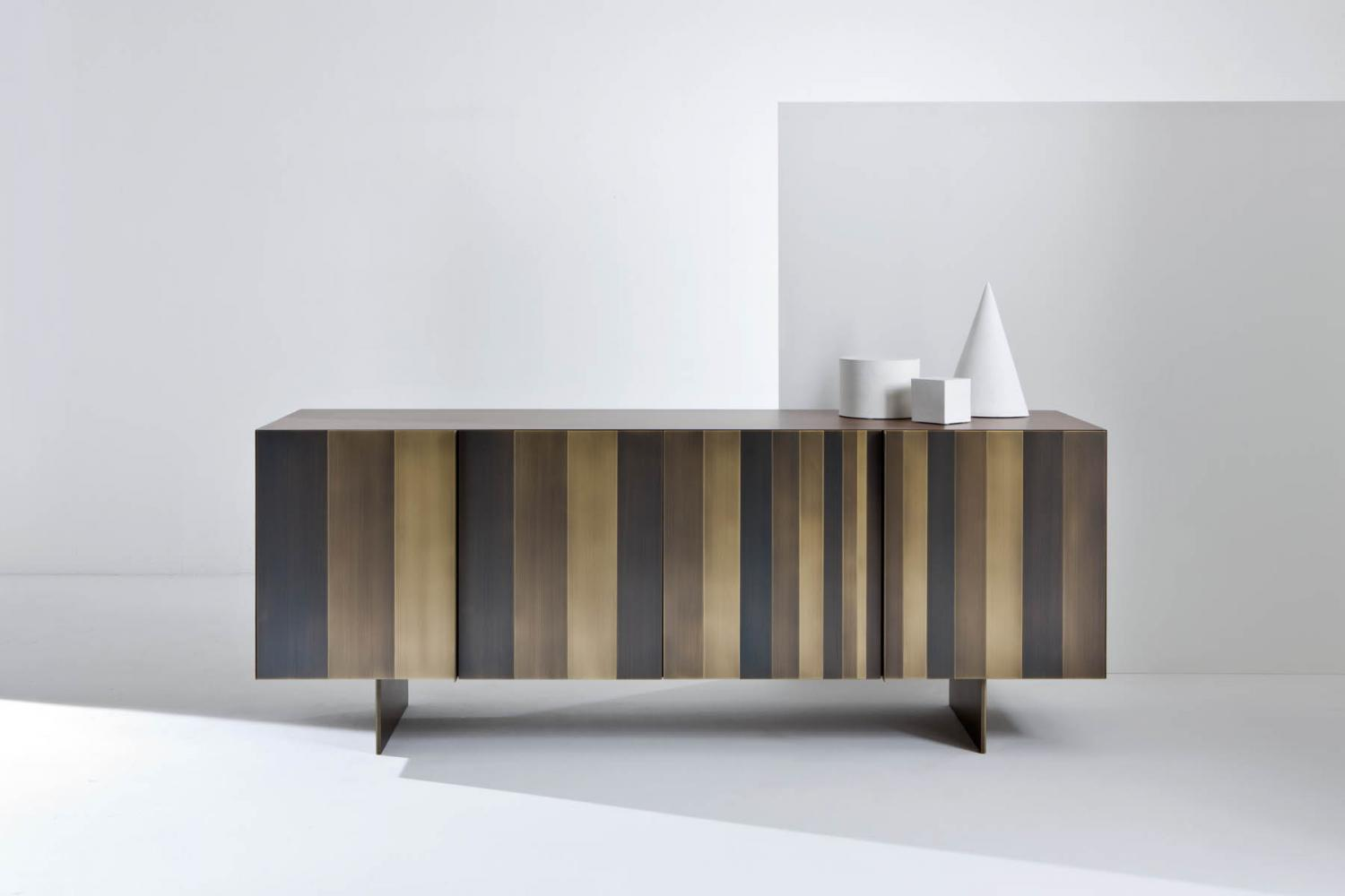 ST 12 Luxury custom size low sideboard clad in brass