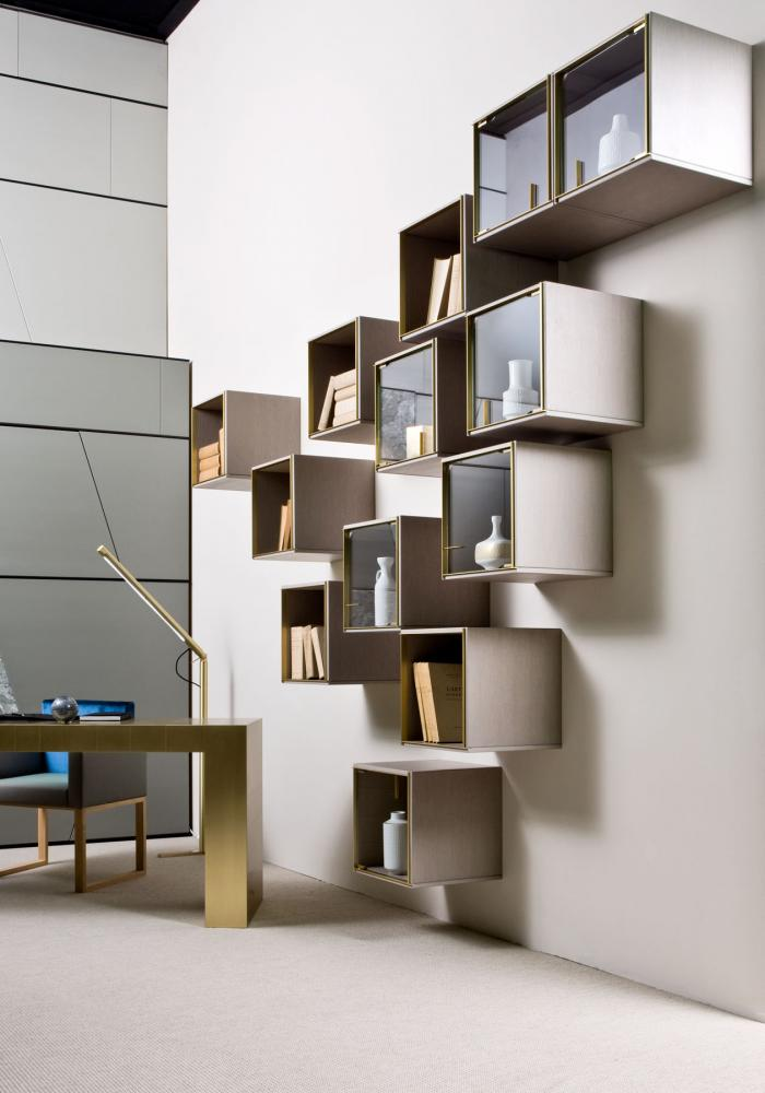 Modular luxury storage unit with brass frame lacquered wood structure