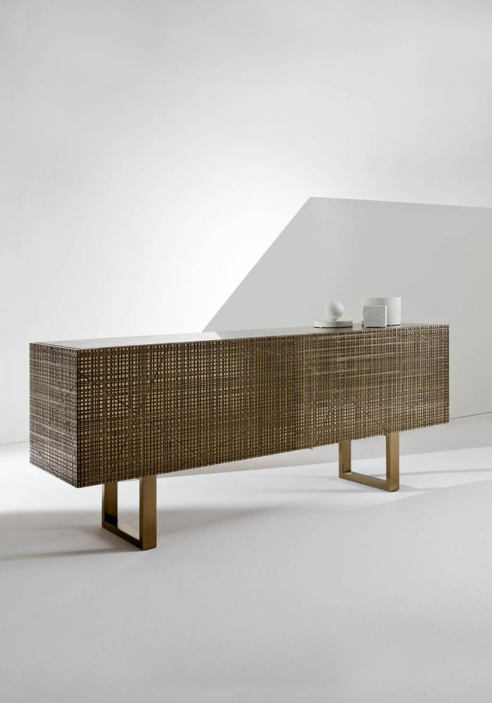 Low sideboard with Maxima surface in bronze liquid metal finish