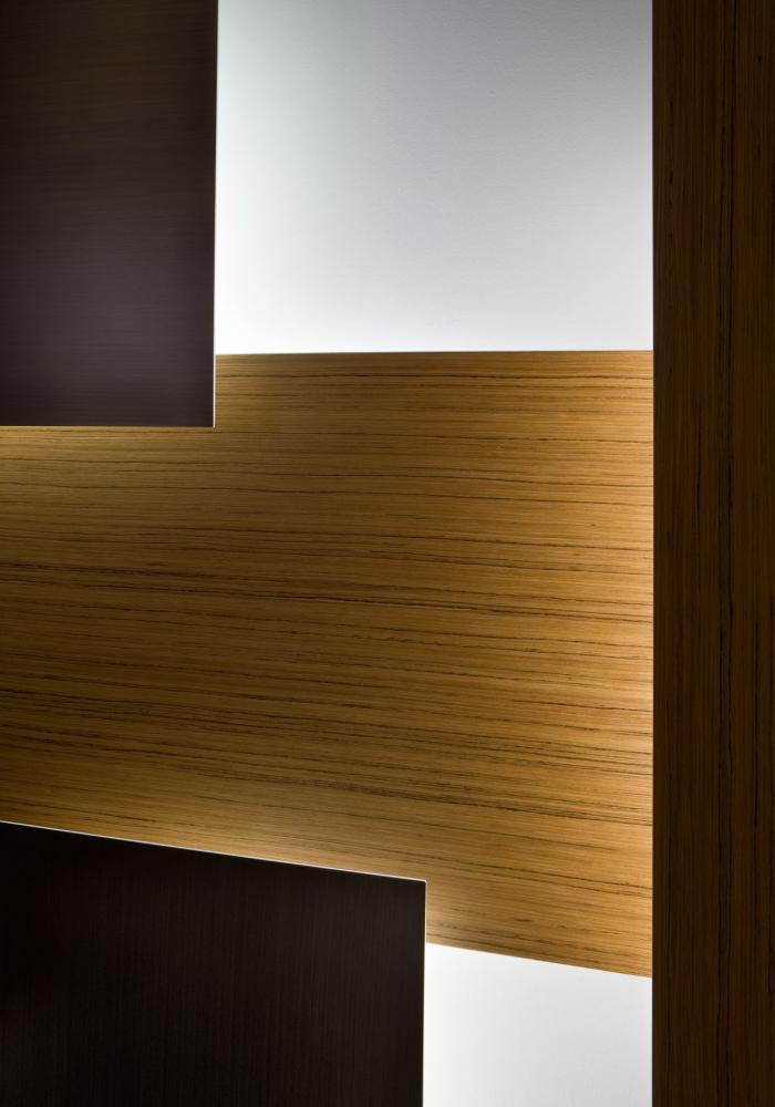 Wall or ceiling mordern modular led lighting system in brass and wood