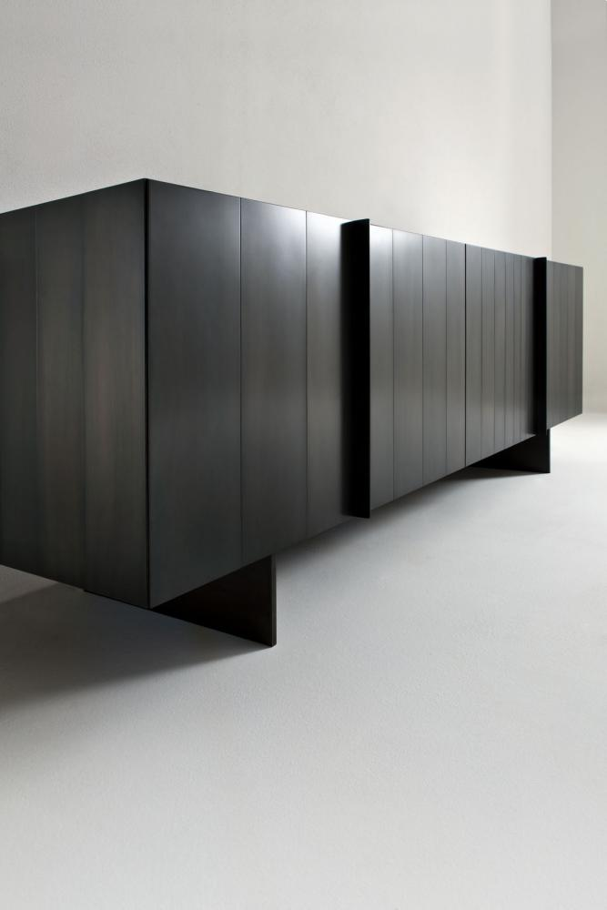 ST 12 Luxury custom size low sideboard cladded in black iron