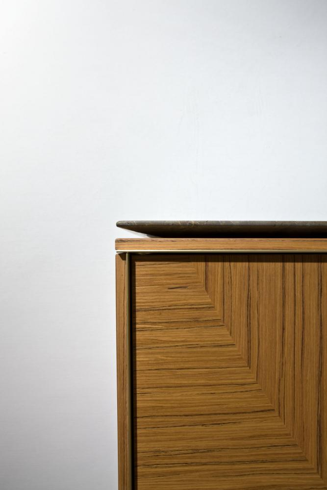 Modular luxury storage unit with brass frame and teak wood structure composed as sideboard with marble top