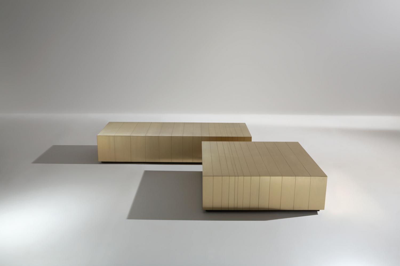 Bespoke modern low tables clad in satin brass metal