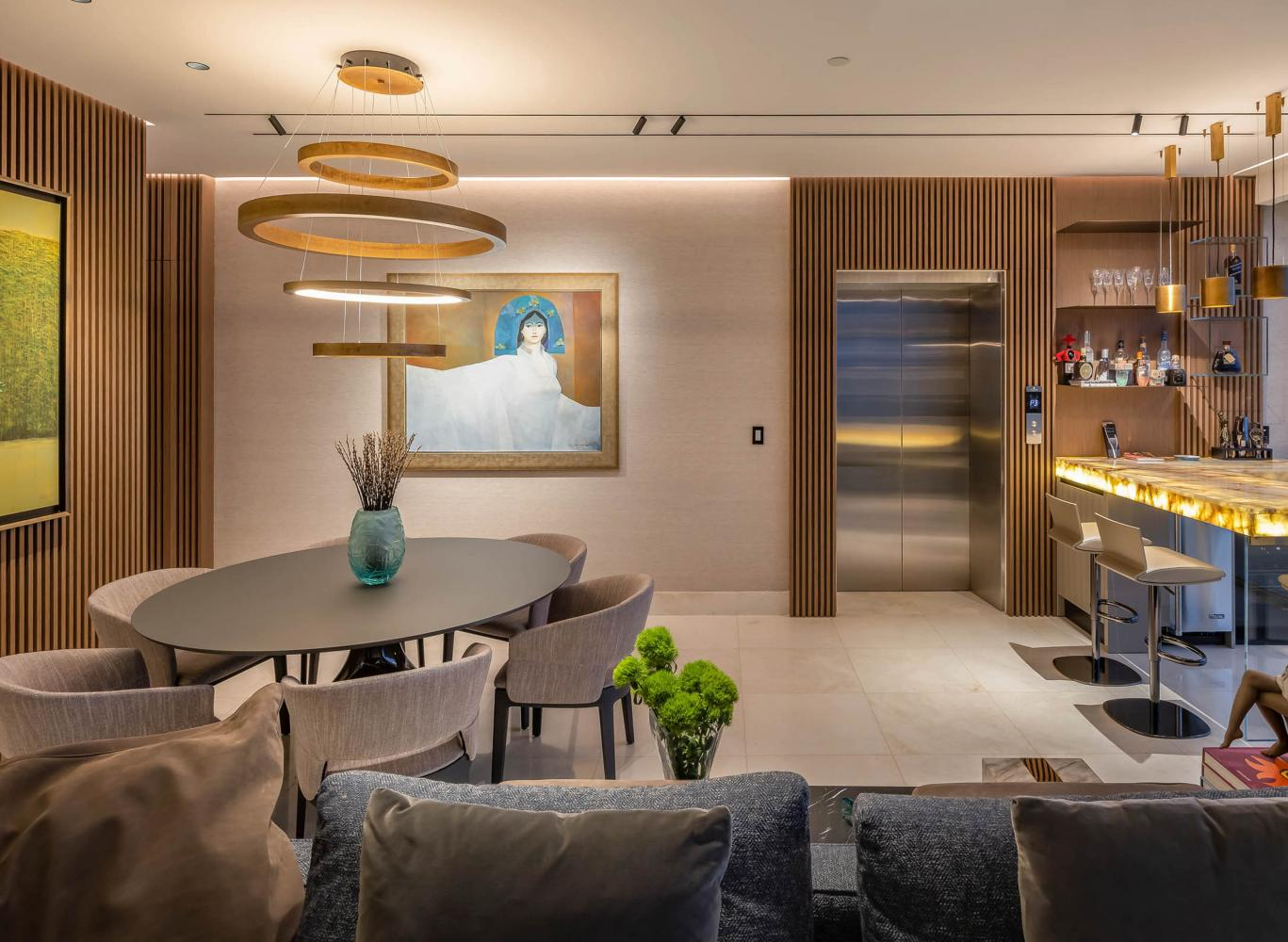 Laurameroni wall panels and custom pieces in ocean reef panama interior design project