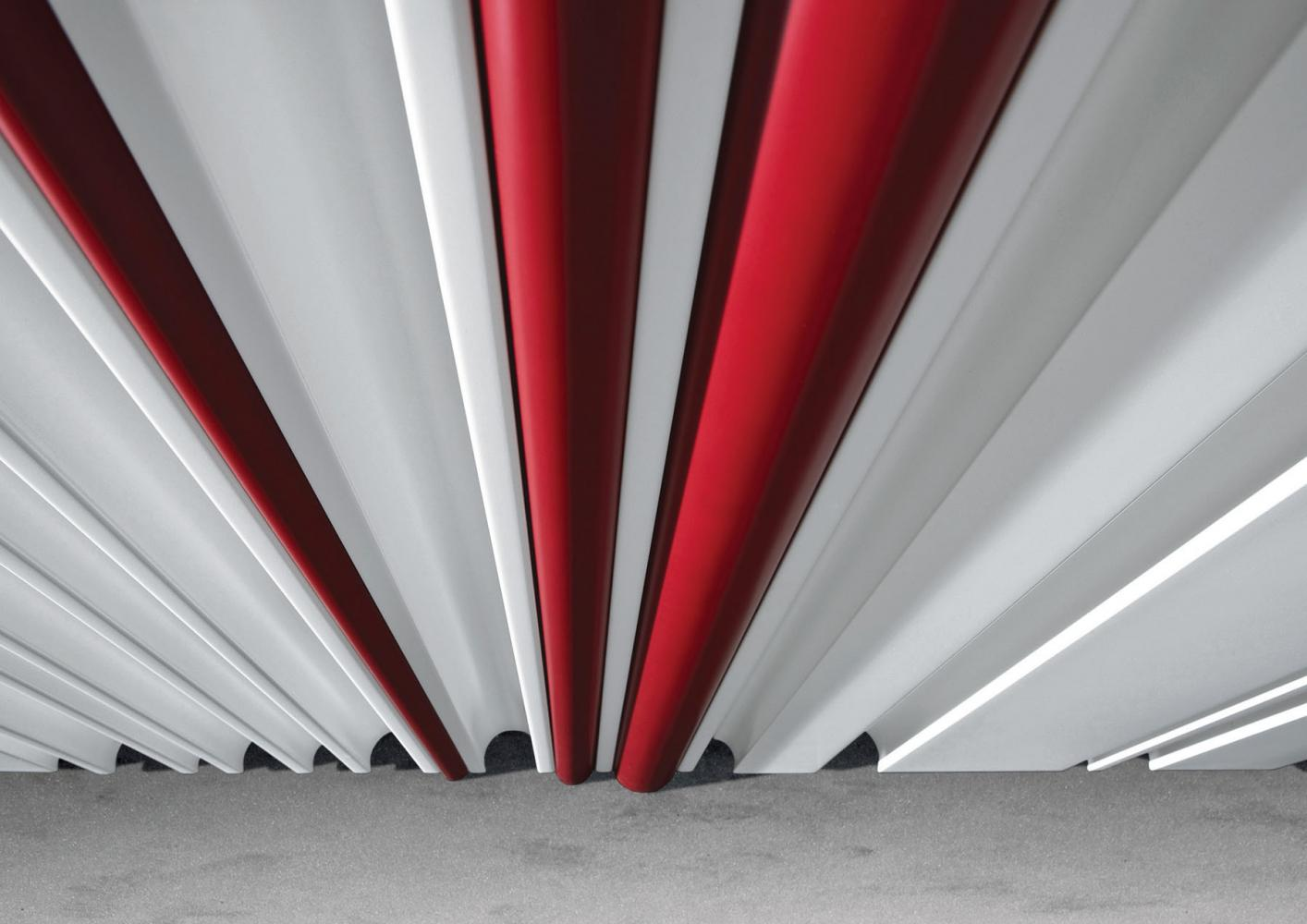 Custom made white lacquered wall panels with round red profiles for luxury home