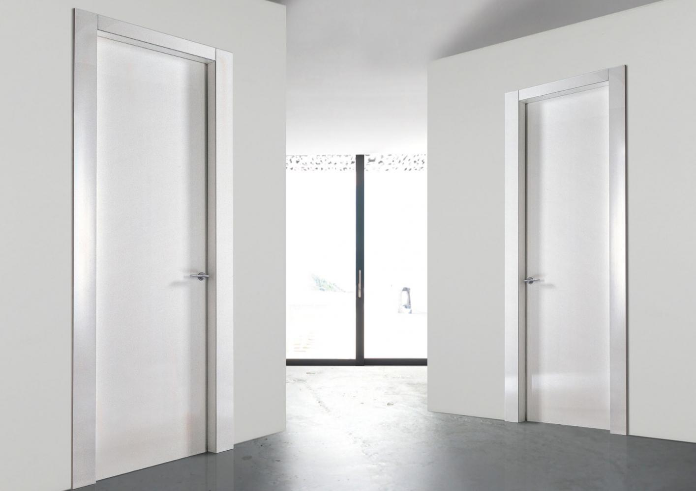 Custom made white lacquered hinged door in wood