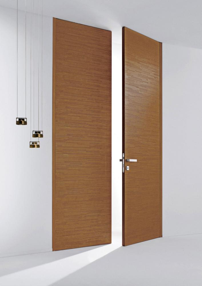 Custom made double hinged door with Decor carved wood texture
