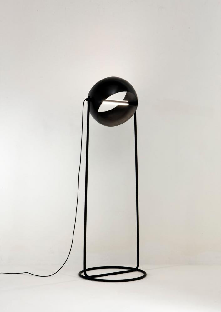 laurameroni globe floor led lamp by edoardo colzani in black iron