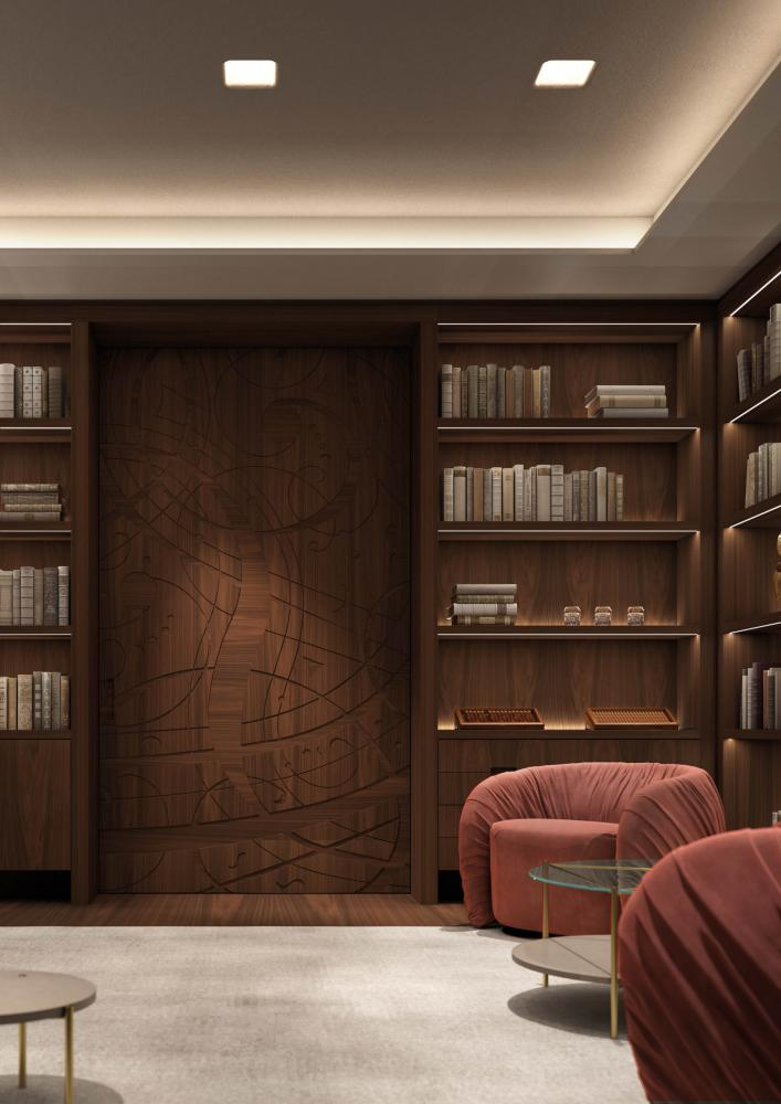 Laurameroni Graffiti Cabinet System made to measure artisanal, luxury day wardrobes in carved materic wood