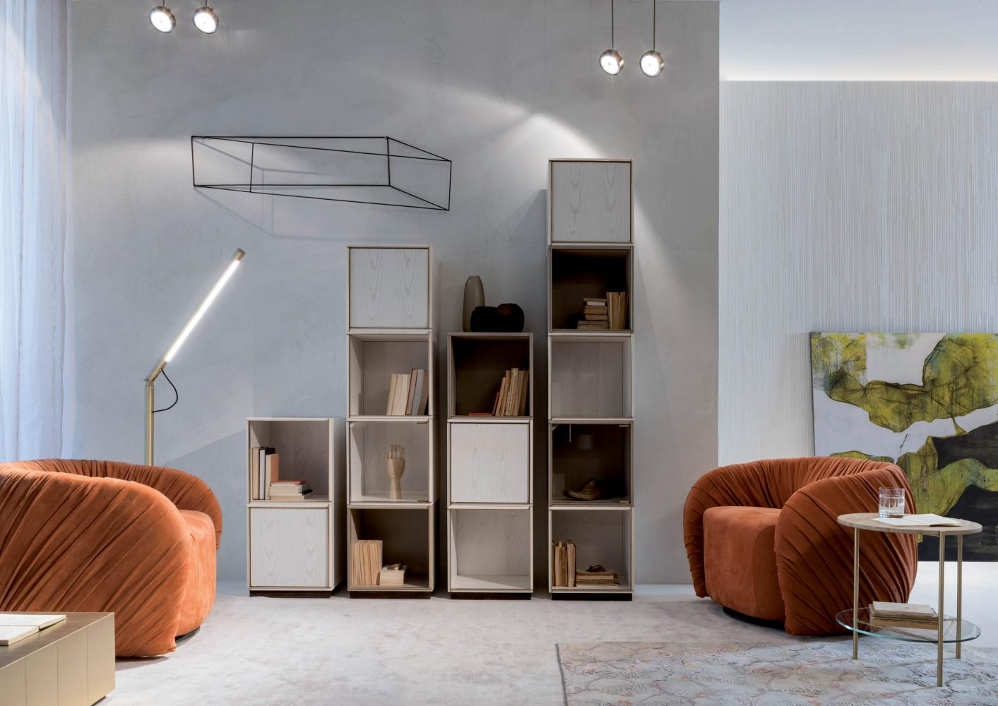 Modular luxury storage unit with brass frame and wood structure