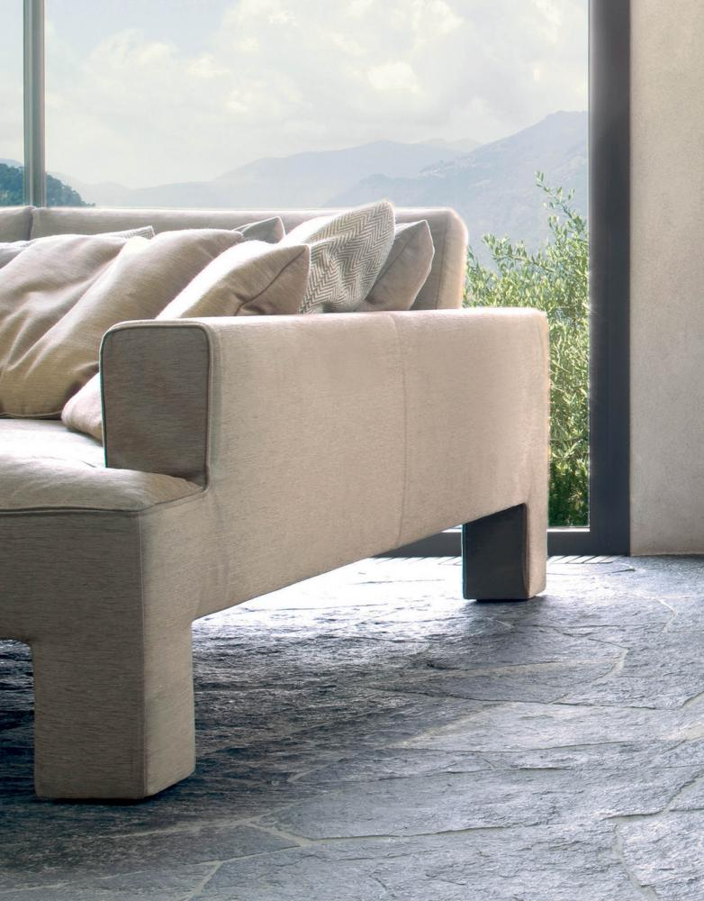 detail of a modern living with luxury isle sofa in leather