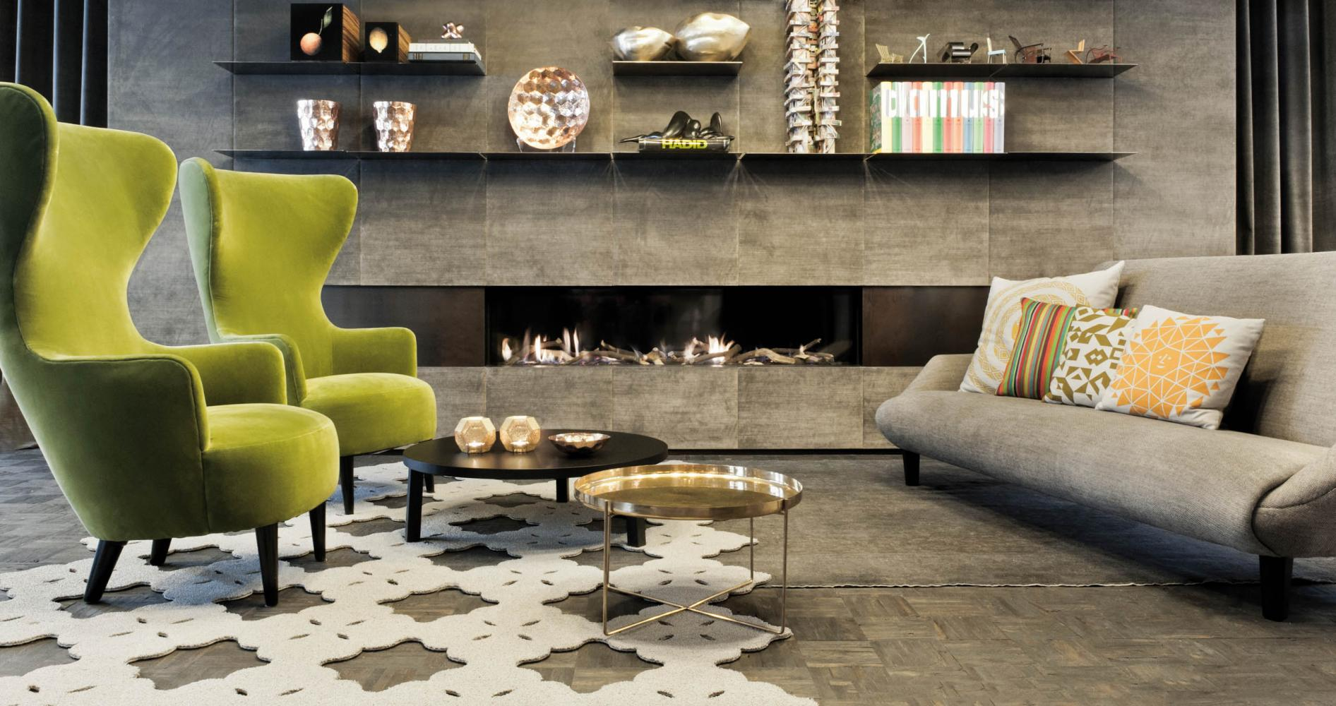 laurameroni terre wall panels in fabric grey colour with integrated metal shelves