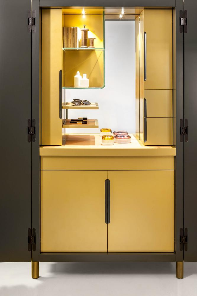 laurameroni bamboo cupboard tall unit with lacquered bars and channels made to measure