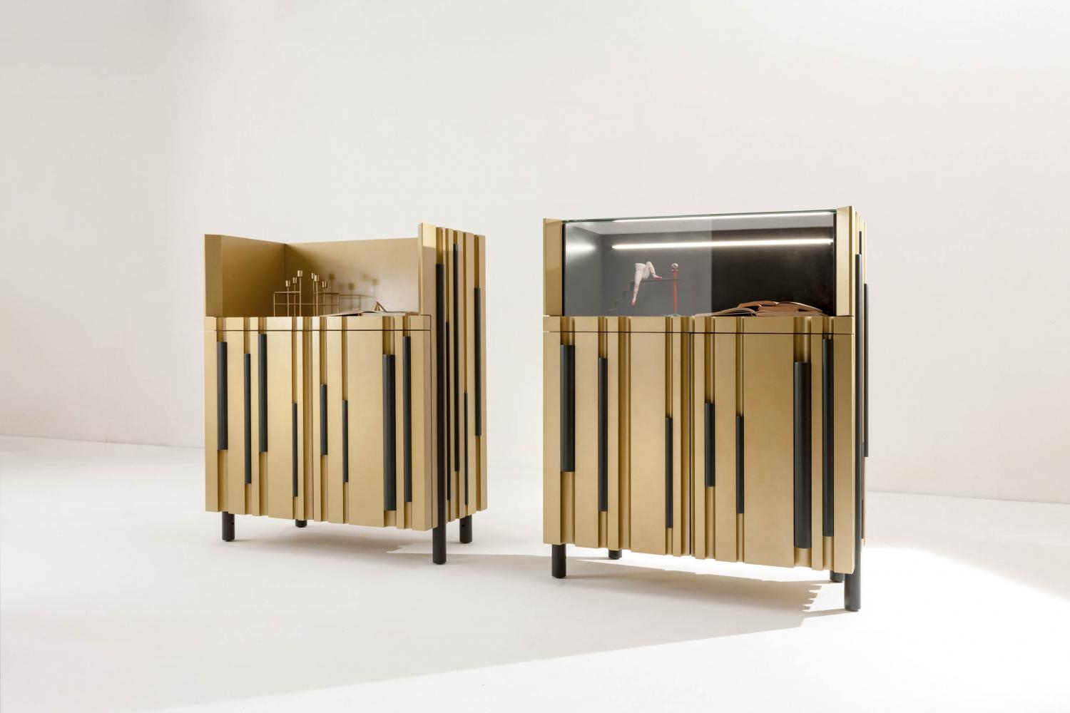 bamboo modern low sideboard with hinged doors with lacquered bars and channels made to measure