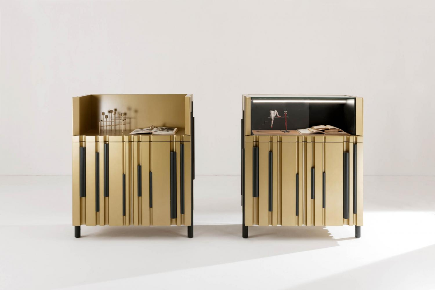 bamboo modern low sideboard with lacquered bars and channels made to measure