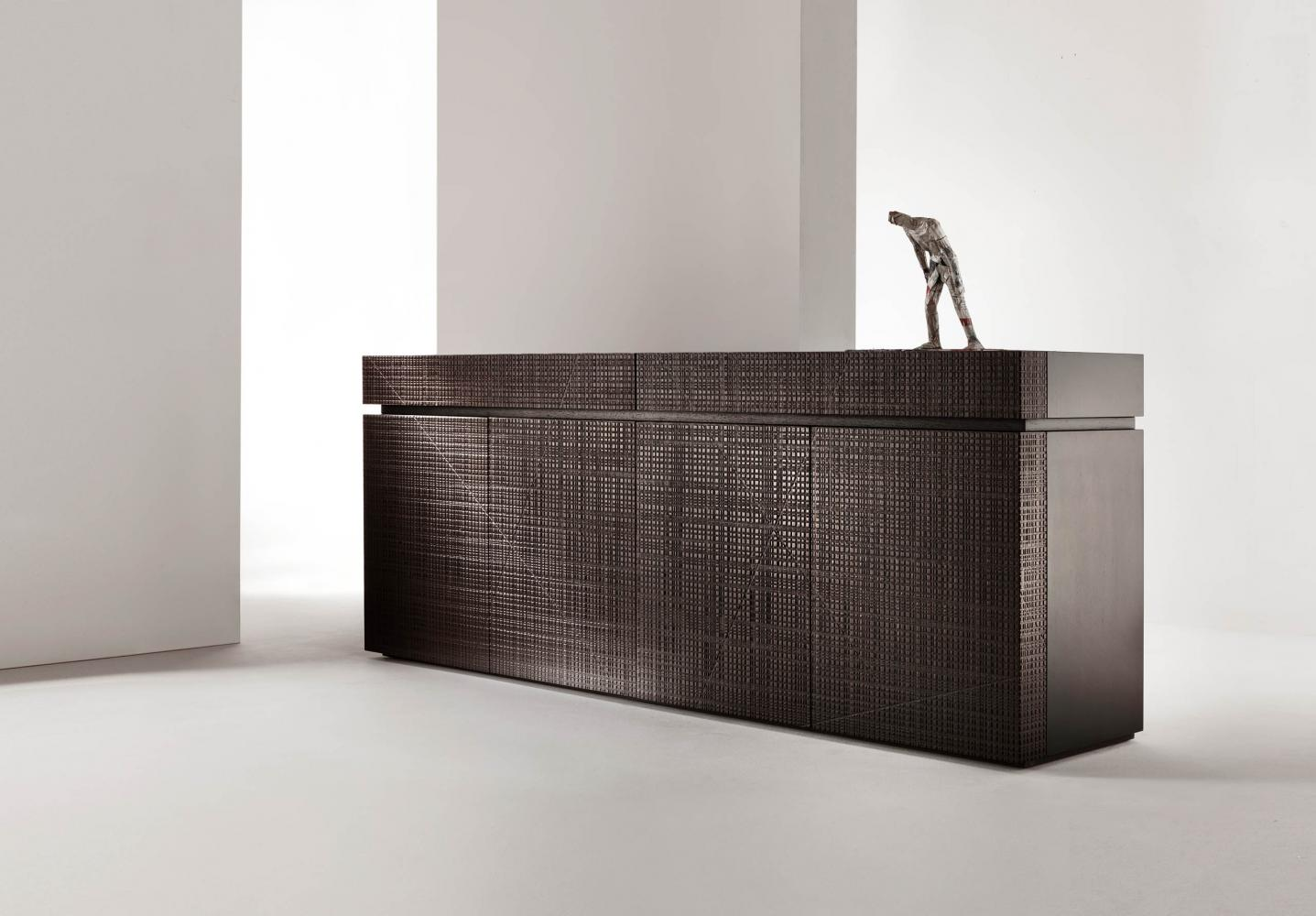 Contemporary luxury sideboard with Maxima textured wood hinged doors and drawers
