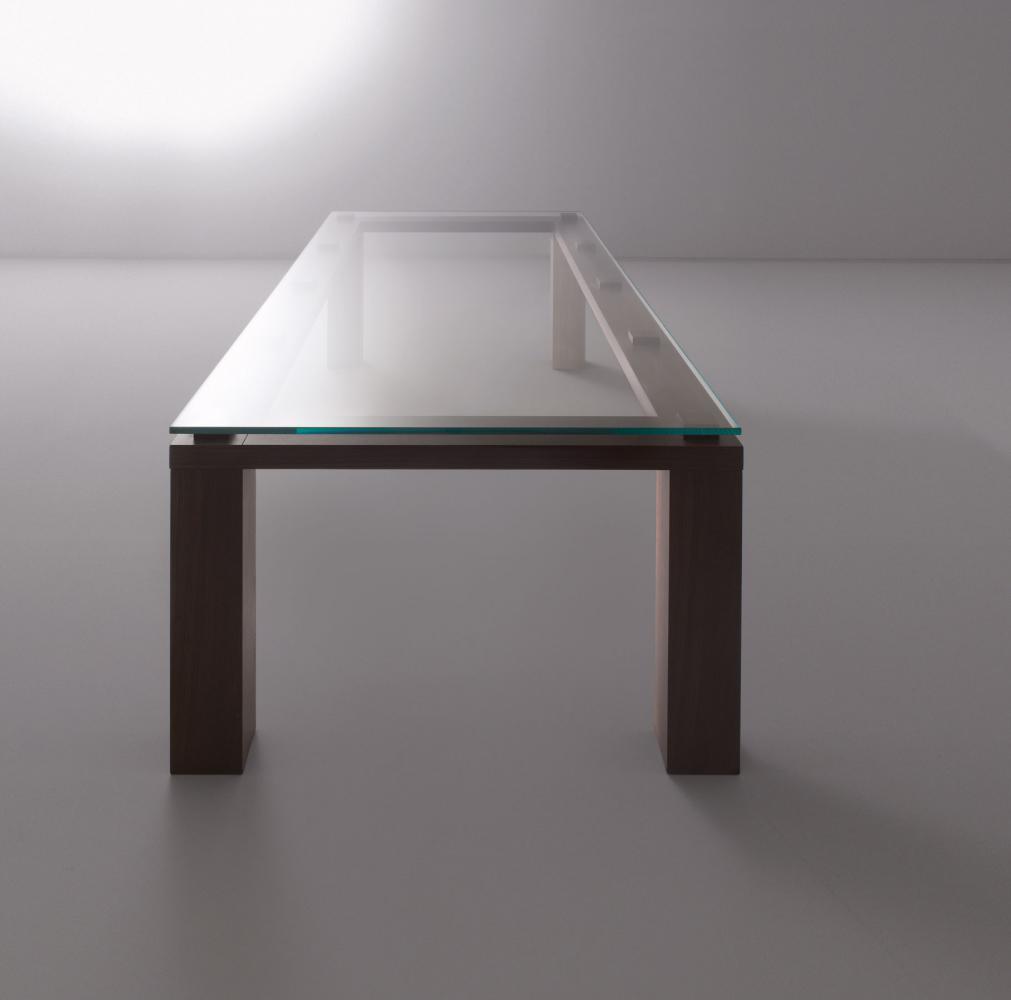 Modern custom made rectangular table in glass and wood