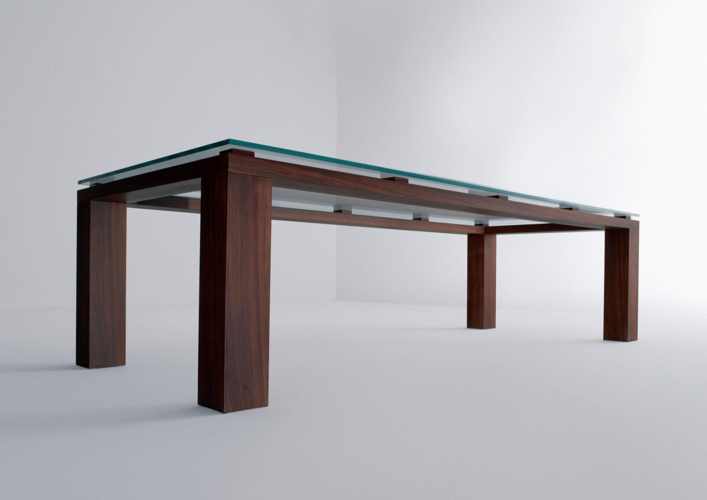 Modern custom made rectangular table in glass and wood