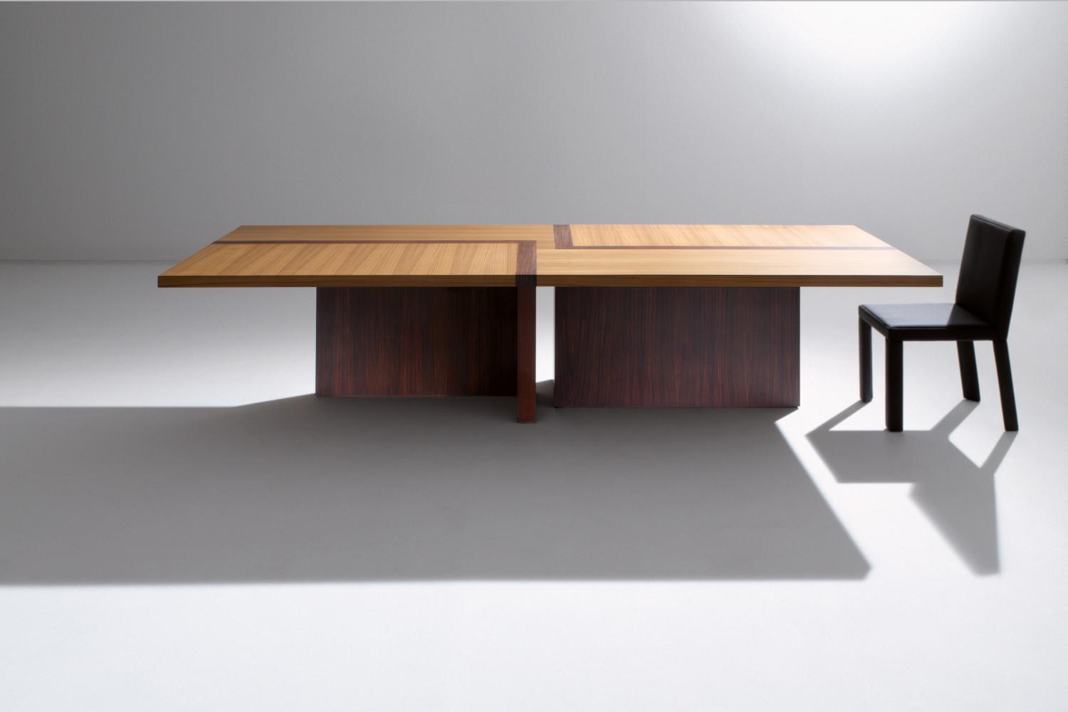 laurameroni bd 07 rectangular table in custom size dimensions with top in teak and rosewood for luxury home