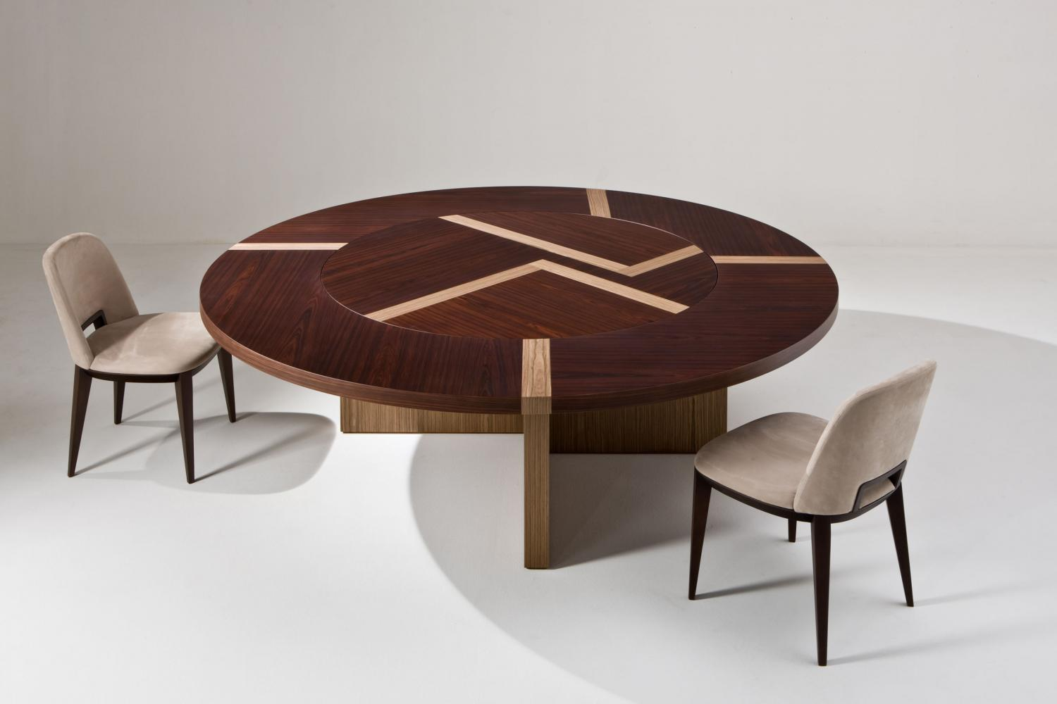 laurameroni bd 07 lazy susan rotating top table in rosewood and walnut canaletto