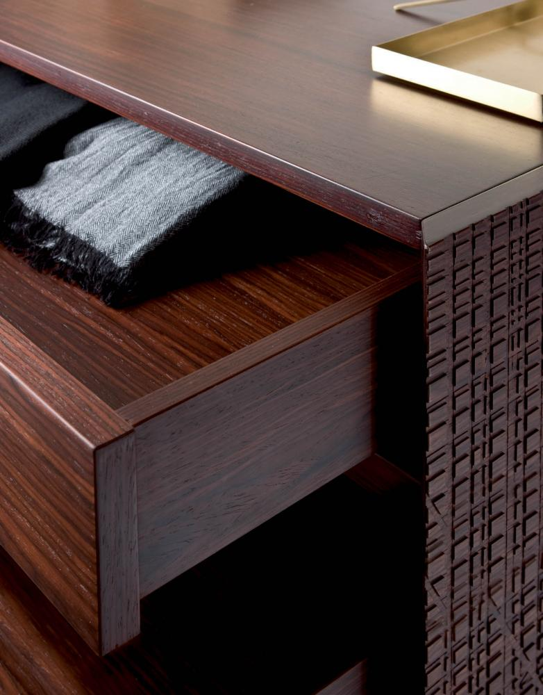 Luxury chest of drawers with Maxima textured wood surface in rosewood finish