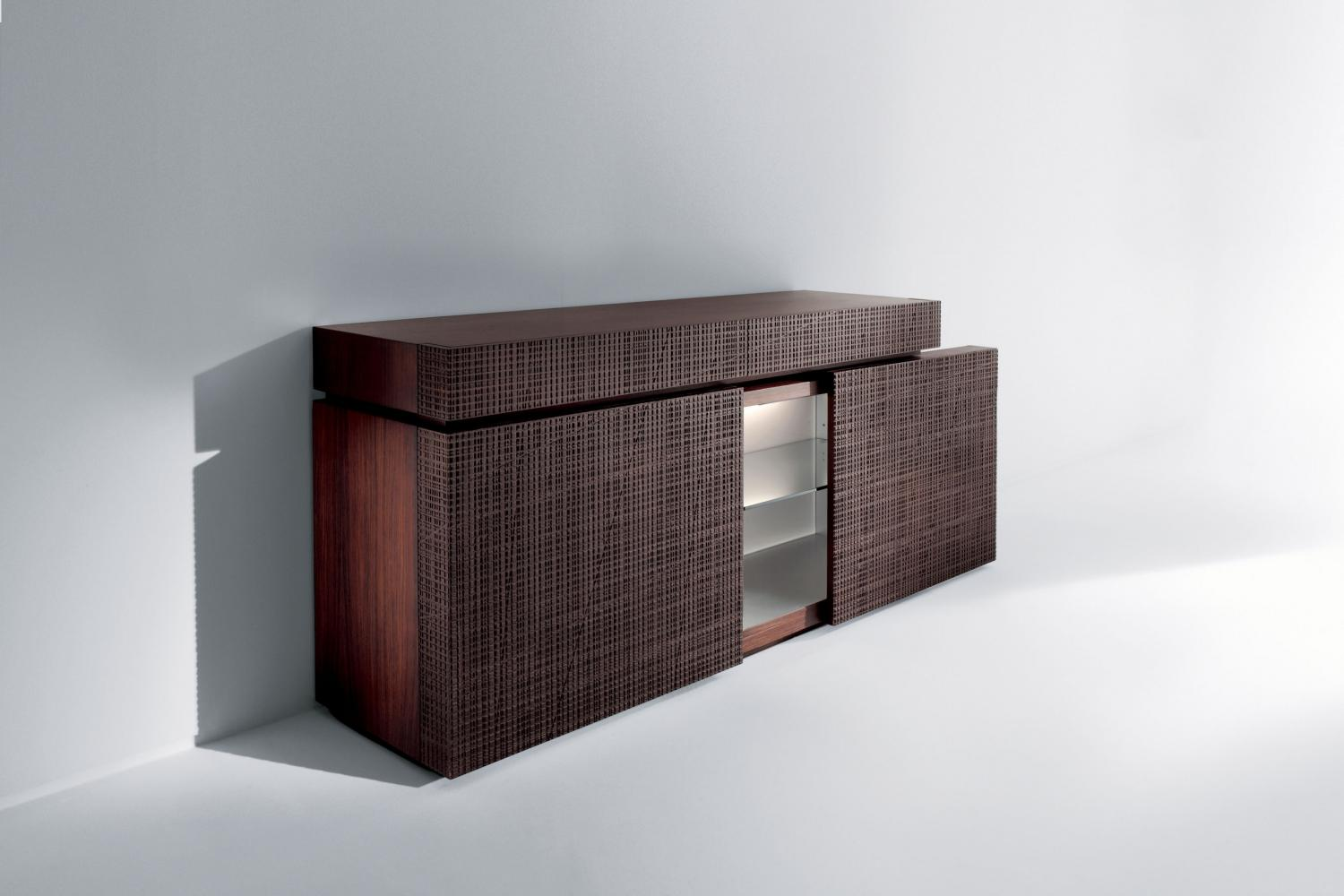 Contemporary sideboard with Maxima textured wood sliding doors