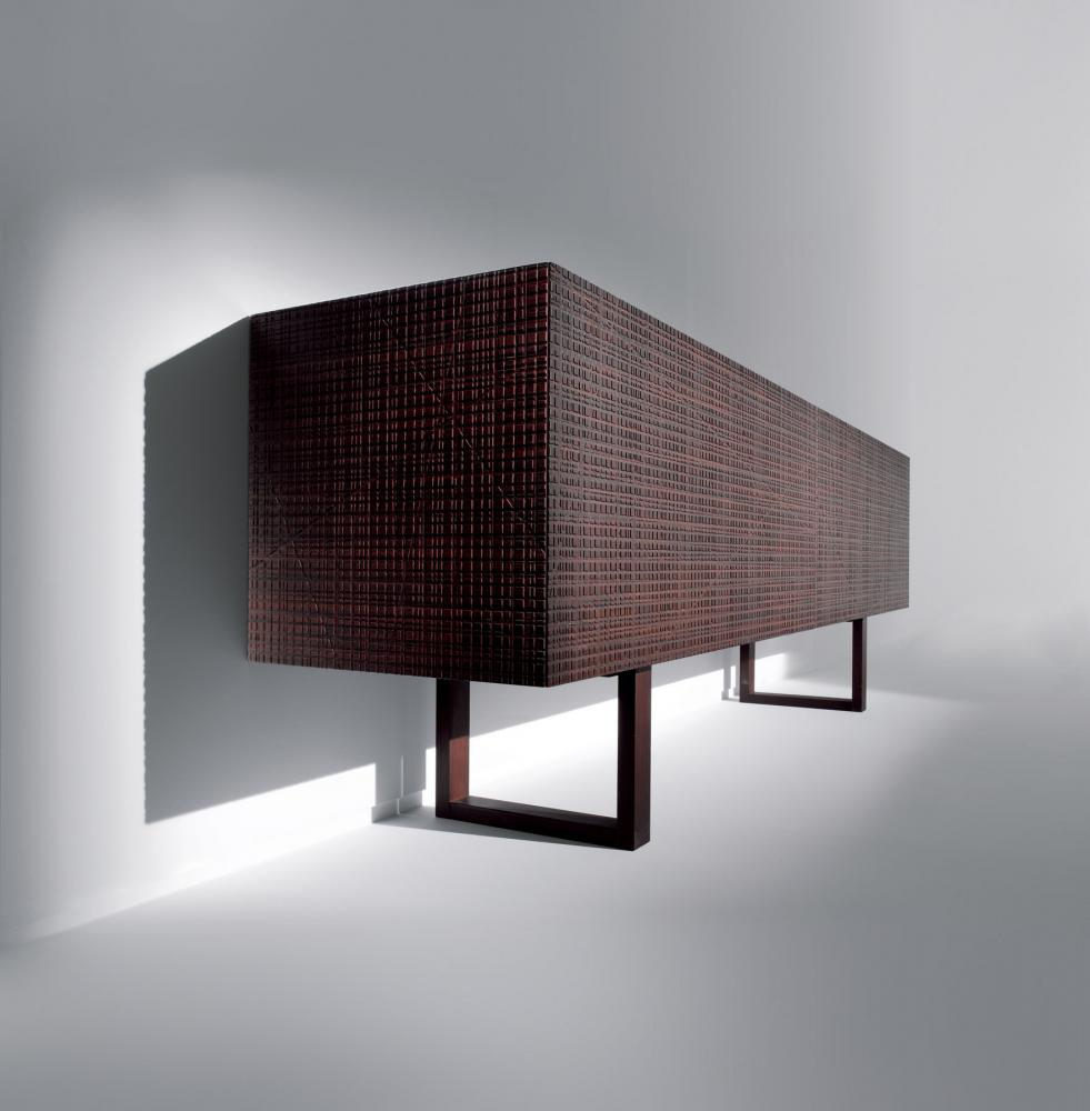 Bespoke modern low sideboard with Maxima texture carved wood hinged doors