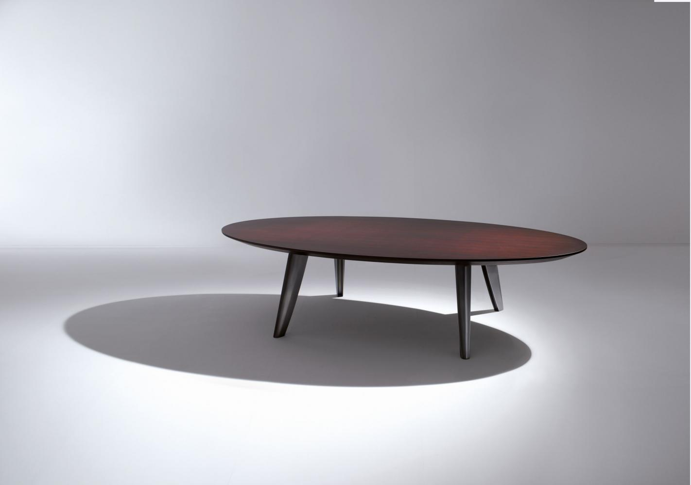 Modern luxury elliptical table with wooden top and bronze legs